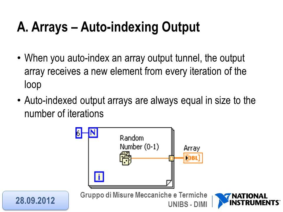 Gruppo di Misure Meccaniche e Termiche UNIBS - DIMI A. Arrays – Auto-indexing Output When you auto-index an array output tunnel, the output array rece