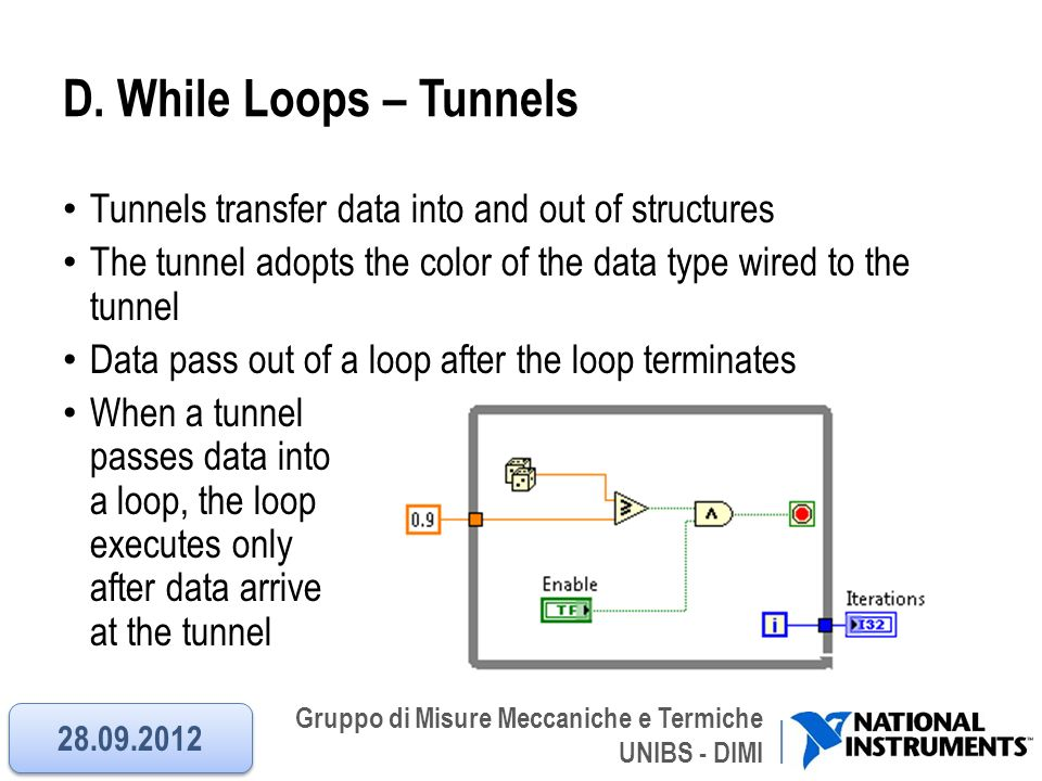 Gruppo di Misure Meccaniche e Termiche UNIBS - DIMI D. While Loops – Tunnels Tunnels transfer data into and out of structures The tunnel adopts the co