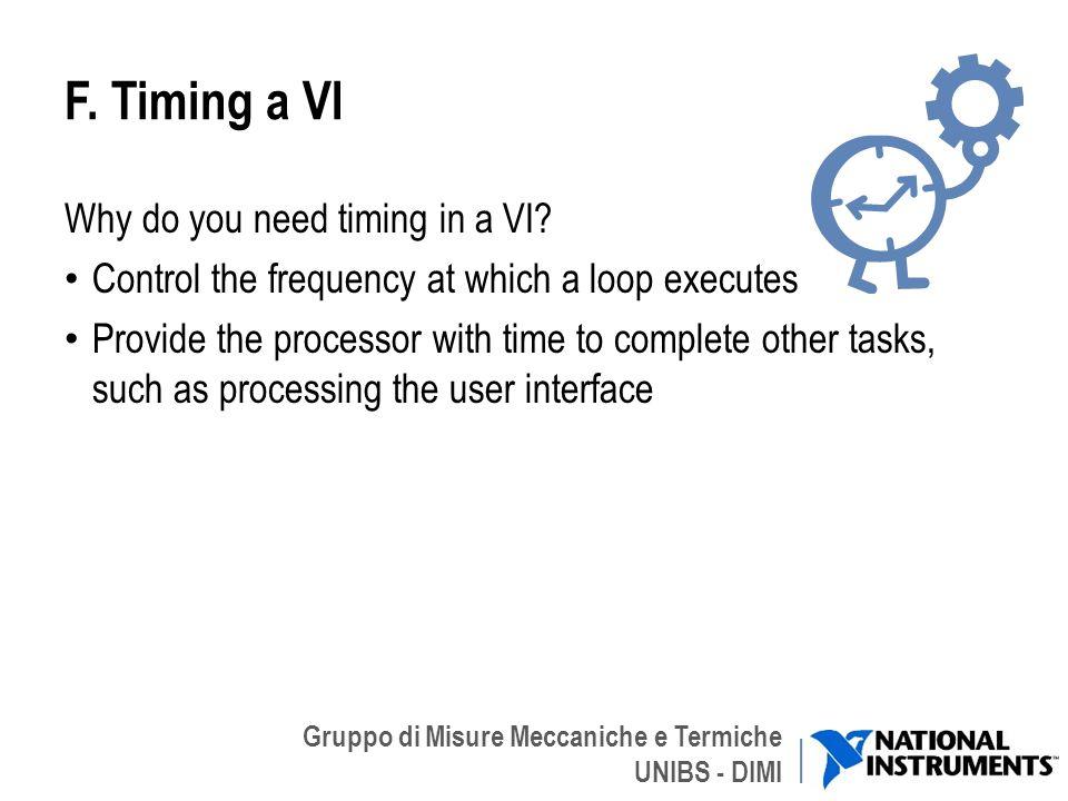 Gruppo di Misure Meccaniche e Termiche UNIBS - DIMI F. Timing a VI Why do you need timing in a VI? Control the frequency at which a loop executes Prov