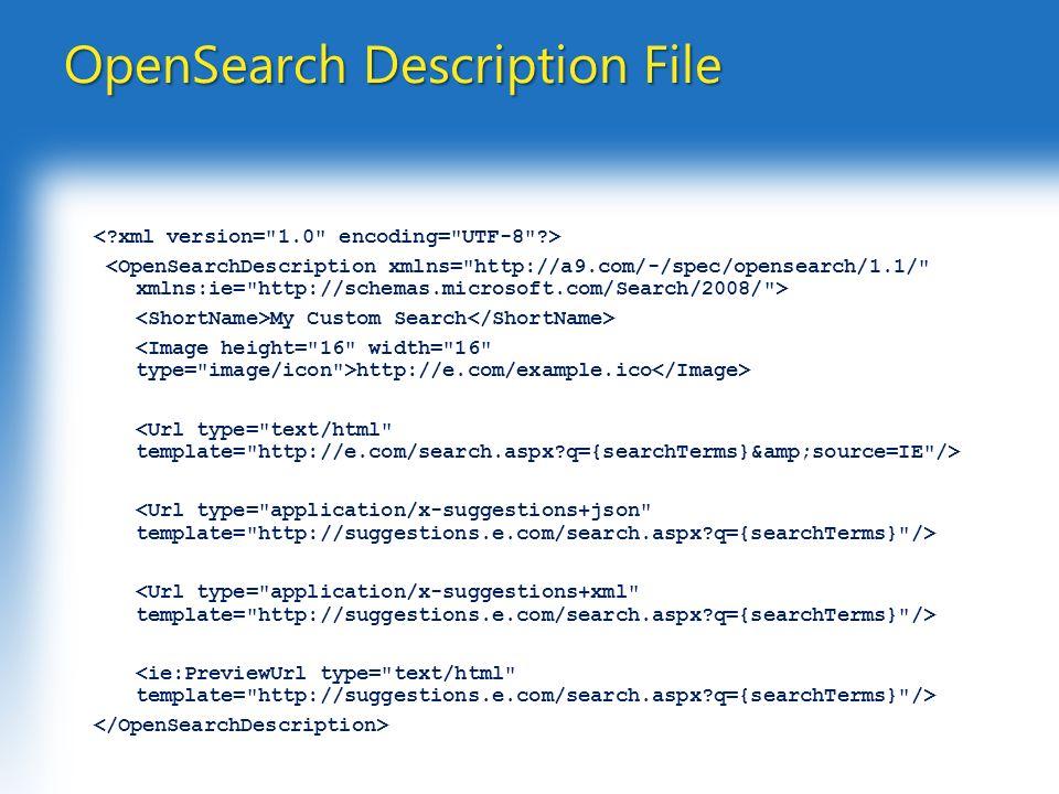 OpenSearch Description File My Custom Search http://e.com/example.ico