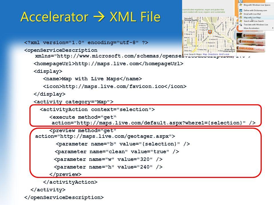 Accelerator XML File Accelerator XML File http://maps.live.com Map with Live Maps http://maps.live.com/favicon.ico