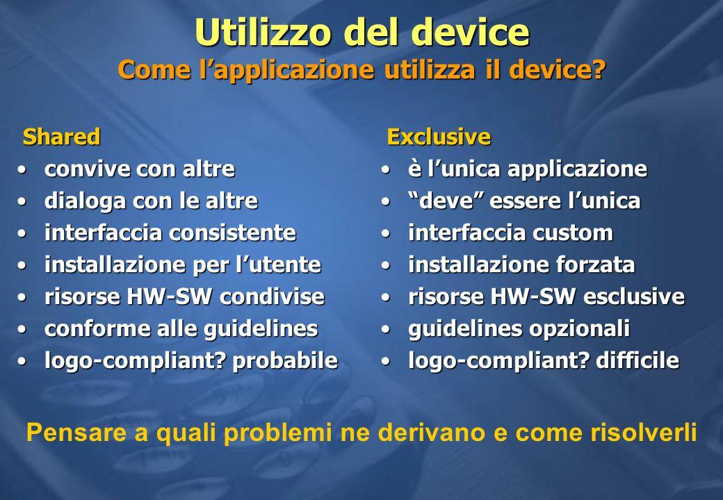 Utilizzo del device Come lapplicazione utilizza il device? Exclusive Exclusive è lunica applicazioneè lunica applicazione deve essere lunicadeve esser