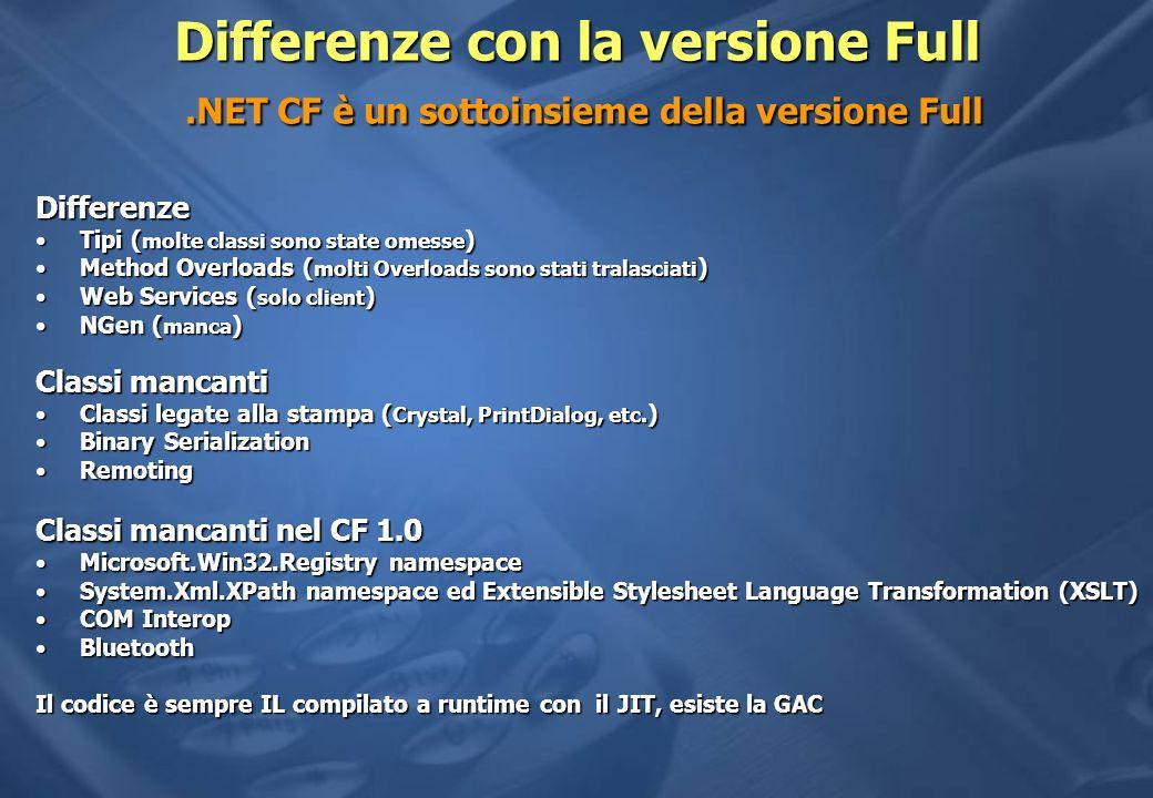 Differenze con la versione Full.NET CF è un sottoinsieme della versione Full Differenze Tipi ( molte classi sono state omesse )Tipi ( molte classi son