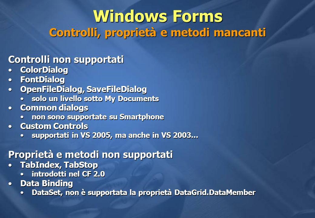 Windows Forms Controlli, proprietà e metodi mancanti Controlli non supportati ColorDialogColorDialog FontDialogFontDialog OpenFileDialog, SaveFileDial