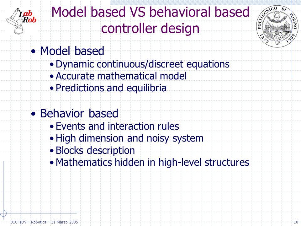 01CFIDV - Robotica - 11 Marzo 200510 Model based VS behavioral based controller design Model based Dynamic continuous/discreet equations Accurate math