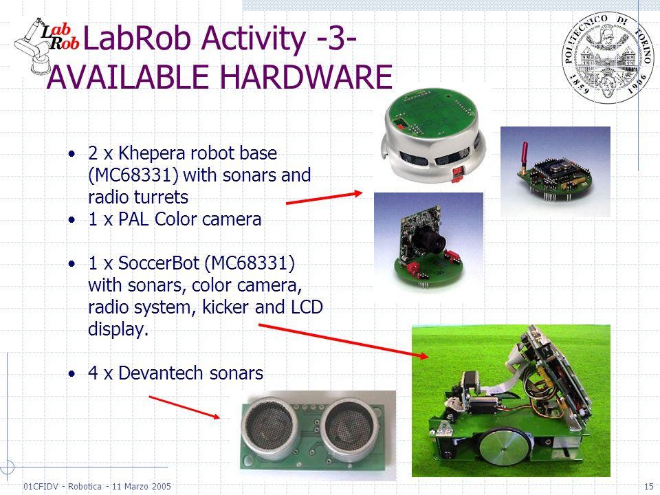 01CFIDV - Robotica - 11 Marzo 200515 2 x Khepera robot base (MC68331) with sonars and radio turrets 1 x PAL Color camera 1 x SoccerBot (MC68331) with
