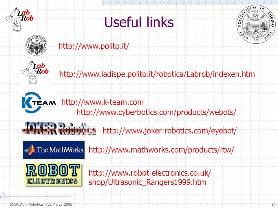 01CFIDV - Robotica - 11 Marzo 200517 Useful links http://www.ladispe.polito.it/robotica/Labrob/indexen.htm http://www.polito.it/ http://www.k-team.com