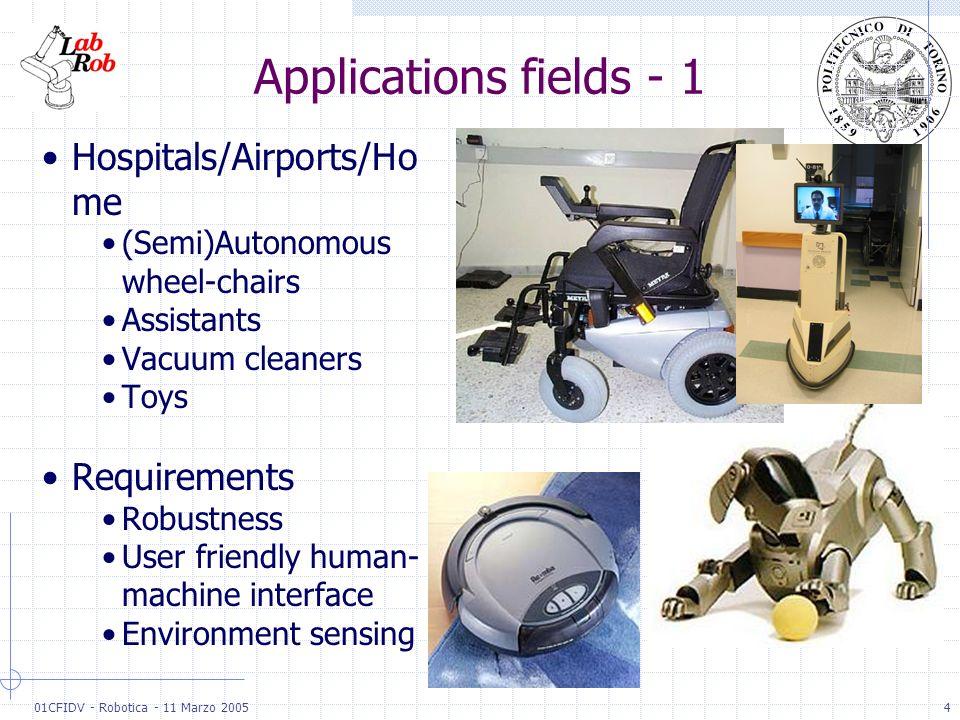 01CFIDV - Robotica - 11 Marzo 20054 Applications fields - 1 Hospitals/Airports/Ho me (Semi)Autonomous wheel-chairs Assistants Vacuum cleaners Toys Req