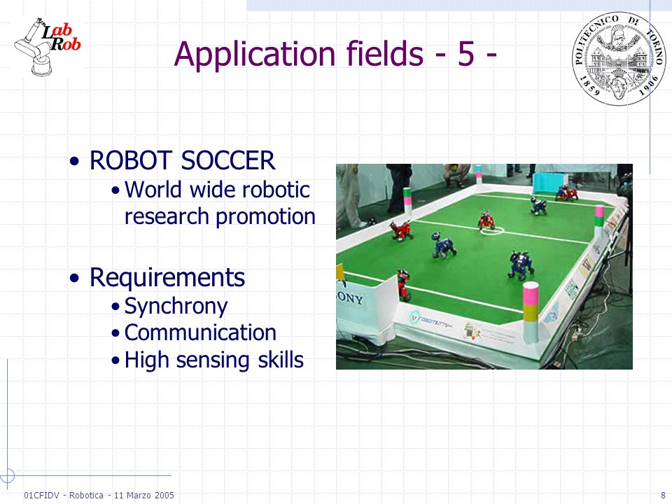 01CFIDV - Robotica - 11 Marzo 20058 Application fields - 5 - ROBOT SOCCER World wide robotic research promotion Requirements Synchrony Communication H