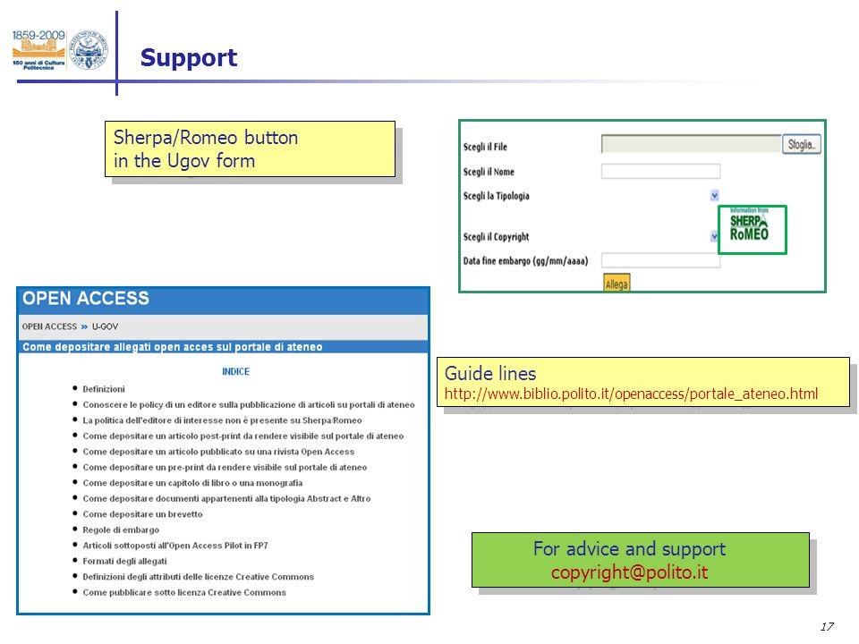 17 Support Guide lines http://www.biblio.polito.it/openaccess/portale_ateneo.html Guide lines http://www.biblio.polito.it/openaccess/portale_ateneo.html Sherpa/Romeo button in the Ugov form Sherpa/Romeo button in the Ugov form For advice and support copyright@polito.it For advice and support copyright@polito.it