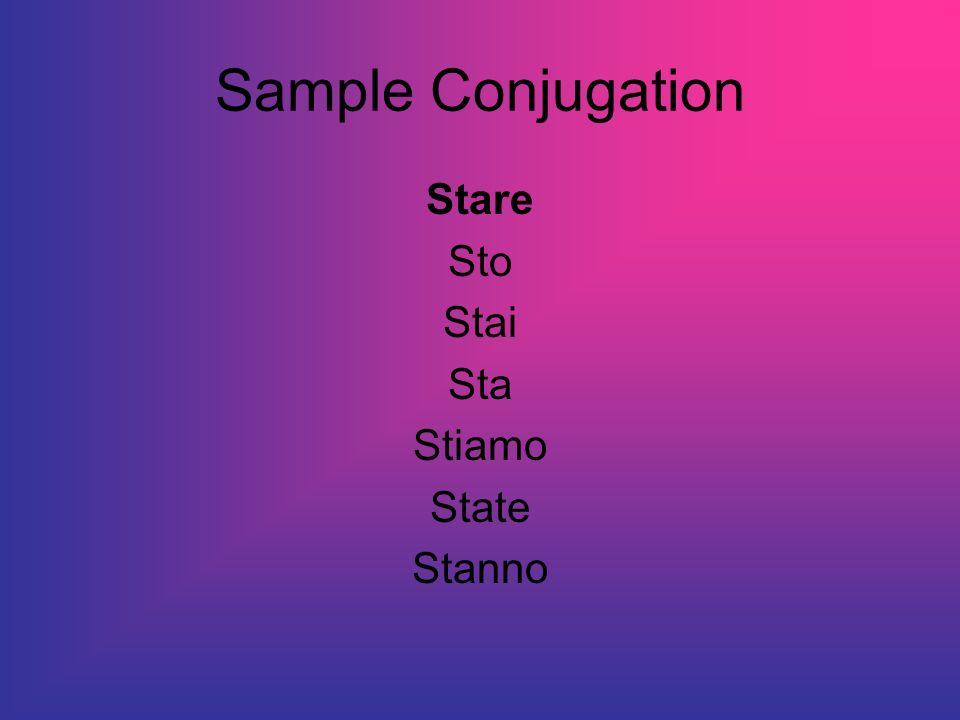 Sample Conjugation Stare Sto Stai Sta Stiamo State Stanno