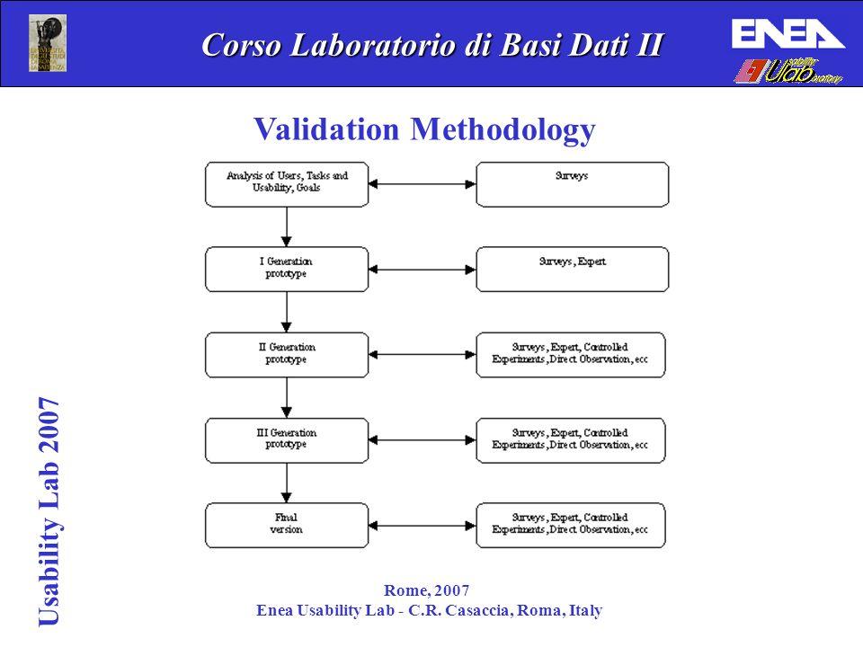 Usability Lab 2007 Corso Laboratorio di Basi Dati II Rome, 2007 Enea Usability Lab - C.R.