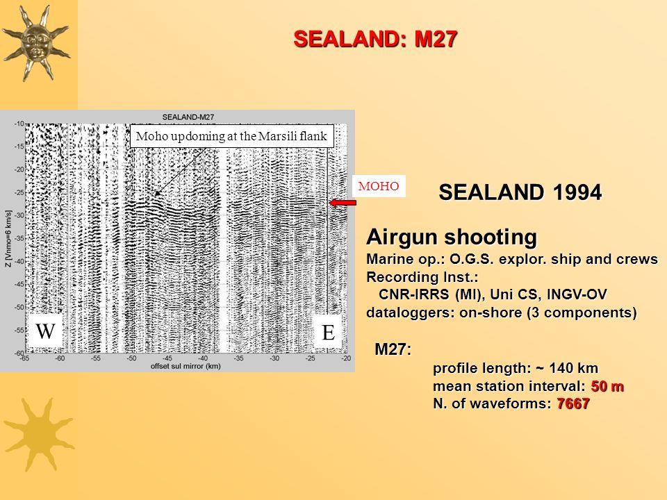 W E Moho updoming at the Marsili flank MOHO SEALAND: M27 SEALAND 1994 Airgun shooting Marine op.: O.G.S. explor. ship and crews Recording Inst.: CNR-I