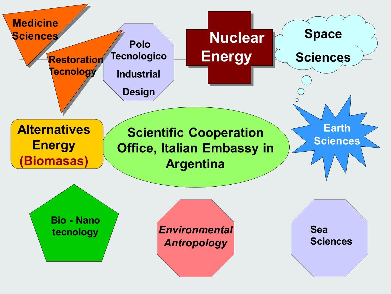 Scientific Cooperation Office, Italian Embassy in Argentina Medicine Sciences Earth Sciences Nuclear Energy Bio - Nano tecnology Space Sciences Altern