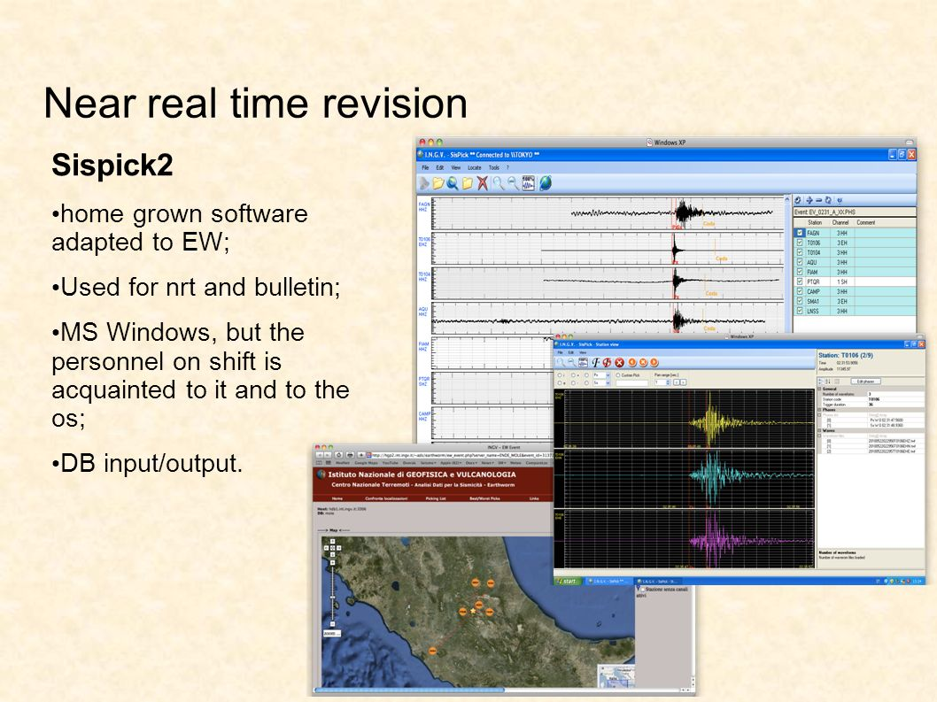 Near real time revision Sispick2 home grown software adapted to EW; Used for nrt and bulletin; MS Windows, but the personnel on shift is acquainted to it and to the os; DB input/output.