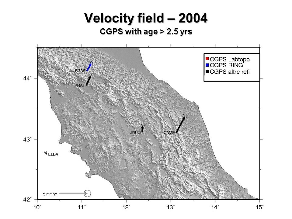 Velocity field – 2004 CGPS with age > 2.5 yrs