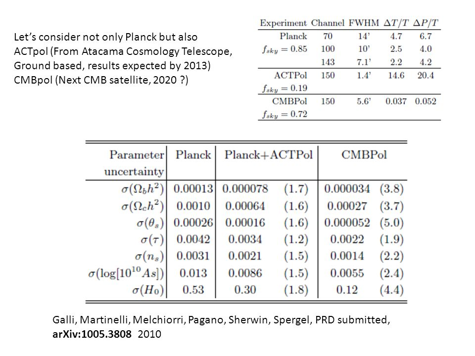 Galli, Martinelli, Melchiorri, Pagano, Sherwin, Spergel, PRD submitted, arXiv:1005.3808 2010 Lets consider not only Planck but also ACTpol (From Atacama Cosmology Telescope, Ground based, results expected by 2013) CMBpol (Next CMB satellite, 2020 )