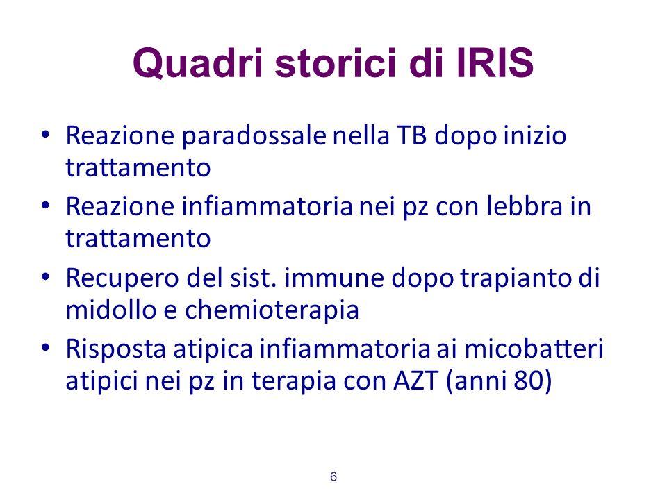 6 Quadri storici di IRIS Reazione paradossale nella TB dopo inizio trattamento Reazione infiammatoria nei pz con lebbra in trattamento Recupero del sist.