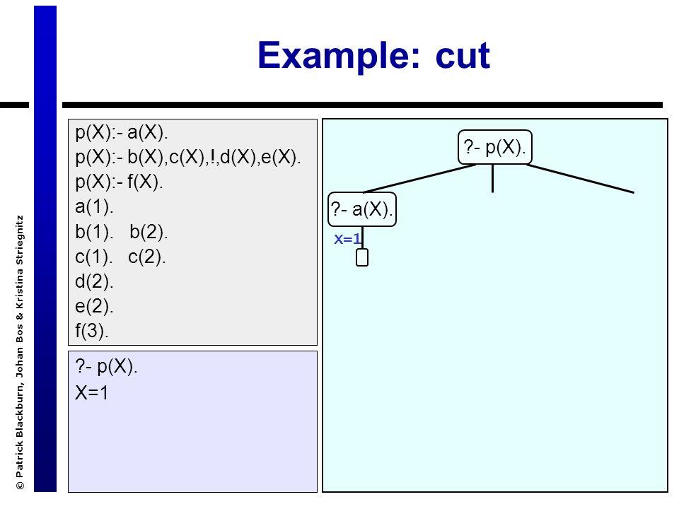 © Patrick Blackburn, Johan Bos & Kristina Striegnitz Example: cut ?- p(X). X=1 ?- p(X). ?- a(X). X=1 p(X):- a(X). p(X):- b(X),c(X),!,d(X),e(X). p(X):-
