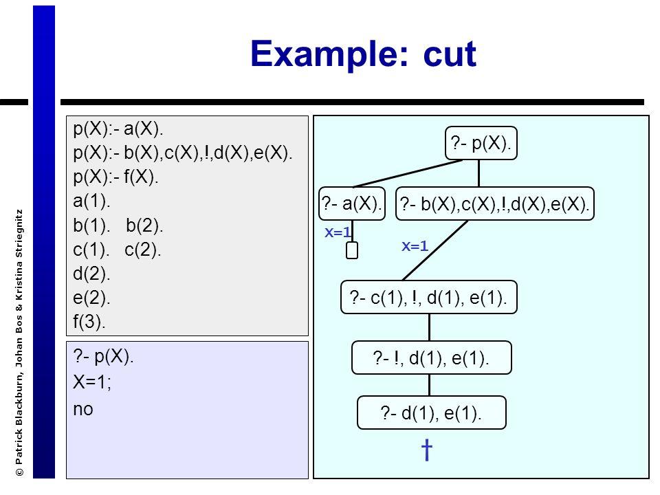 © Patrick Blackburn, Johan Bos & Kristina Striegnitz Example: cut ?- p(X). X=1; no ?- p(X). ?- a(X).?- b(X),c(X),!,d(X),e(X). X=1 p(X):- a(X). p(X):-