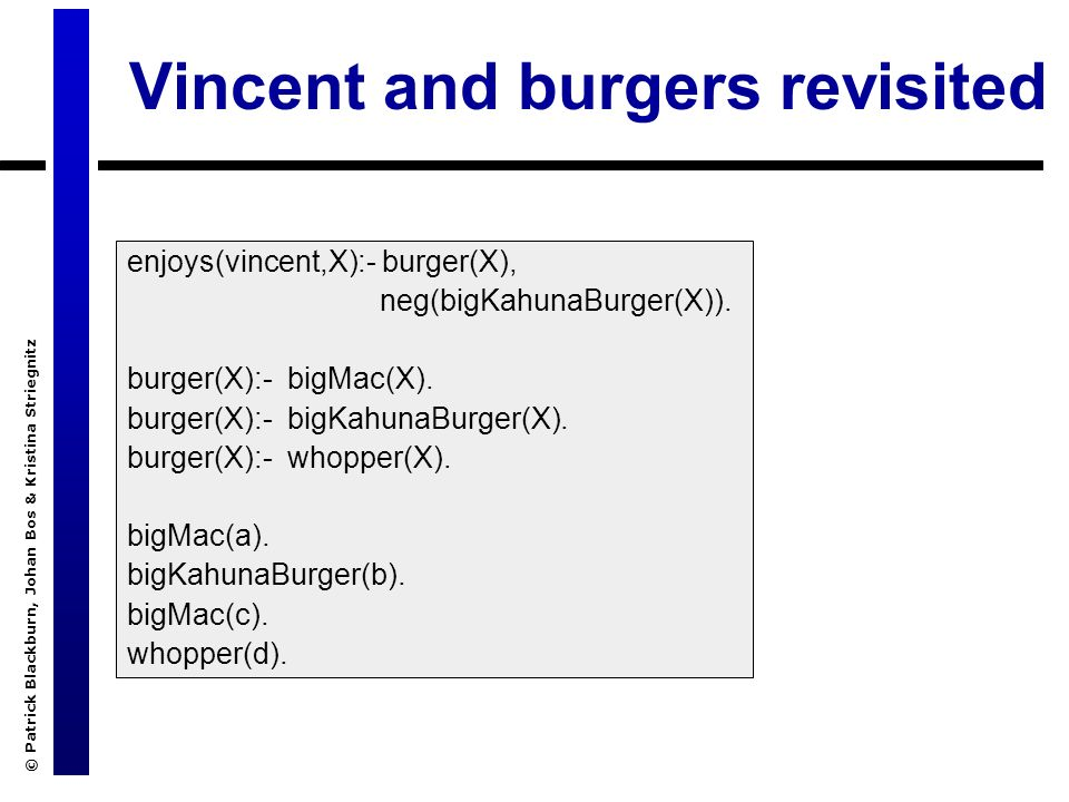 © Patrick Blackburn, Johan Bos & Kristina Striegnitz Vincent and burgers revisited enjoys(vincent,X):- burger(X), neg(bigKahunaBurger(X)).