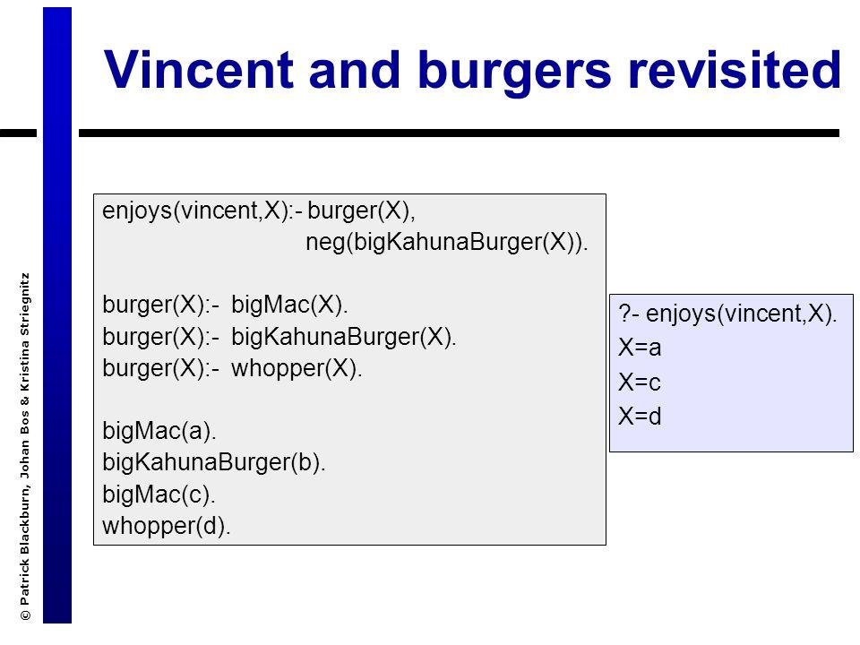 © Patrick Blackburn, Johan Bos & Kristina Striegnitz Vincent and burgers revisited enjoys(vincent,X):- burger(X), neg(bigKahunaBurger(X)). burger(X):-