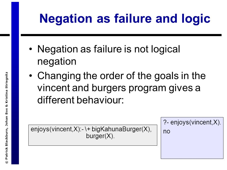 © Patrick Blackburn, Johan Bos & Kristina Striegnitz Negation as failure and logic Negation as failure is not logical negation Changing the order of the goals in the vincent and burgers program gives a different behaviour: enjoys(vincent,X):- \+ bigKahunaBurger(X), burger(X).