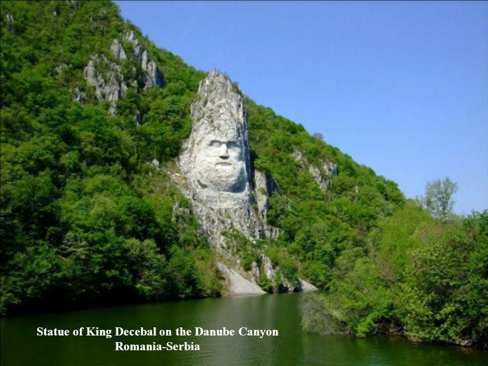 Statue of King Decebal on the Danube Canyon Romania-Serbia