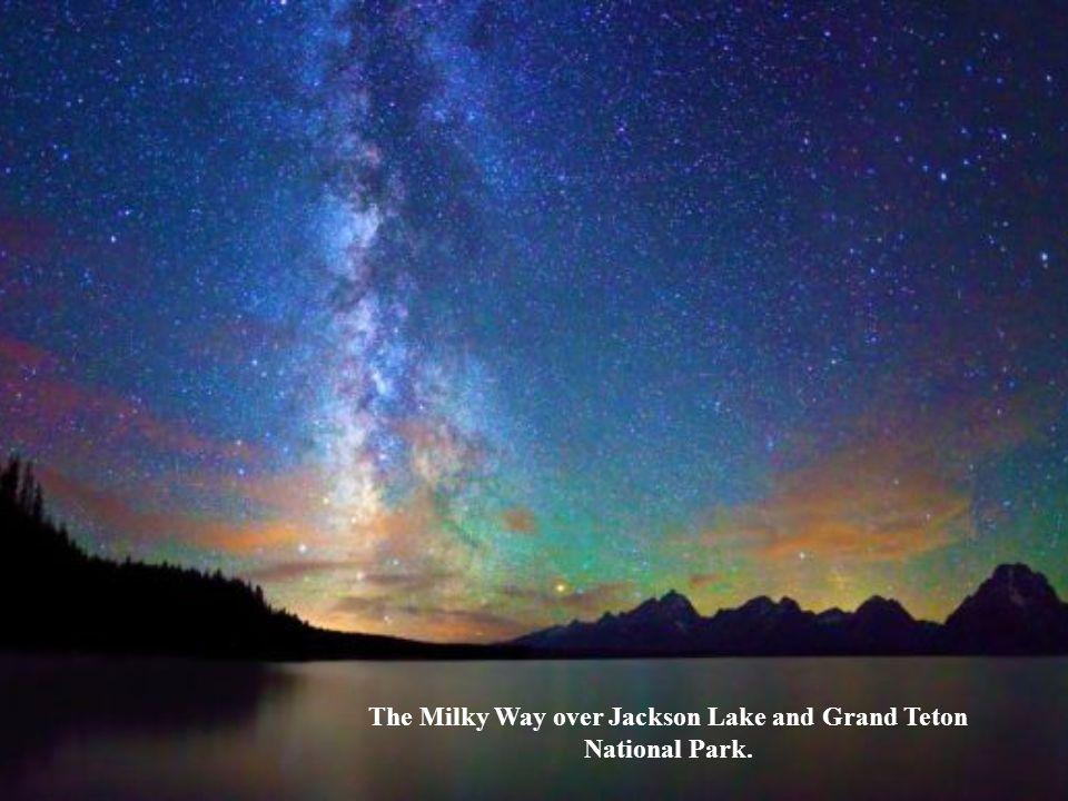 The Milky Way over Jackson Lake and Grand Teton National Park.