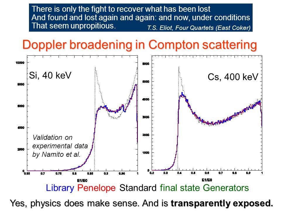 Maria Grazia Pia, INFN Genova Doppler broadening in Compton scattering Library Penelope Standard final state Generators Si, 40 keV Cs, 400 keV Yes, physics does make sense.