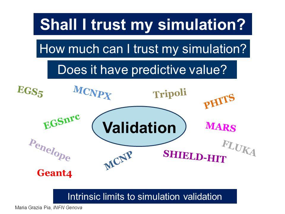 Maria Grazia Pia, INFN Genova Shall I trust my simulation? How much can I trust my simulation? Does it have predictive value? Validation EGS5 EGSnrc P