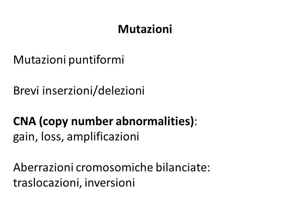 Mutazioni Mutazioni puntiformi Brevi inserzioni/delezioni CNA (copy number abnormalities): gain, loss, amplificazioni Aberrazioni cromosomiche bilanci