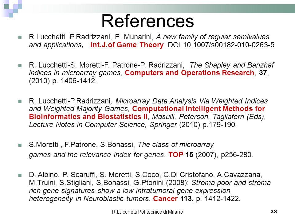R.Lucchetti Politecnico di Milano 33 References R.Lucchetti P.Radrizzani, E. Munarini, A new family of regular semivalues and applications, Int.J.of G