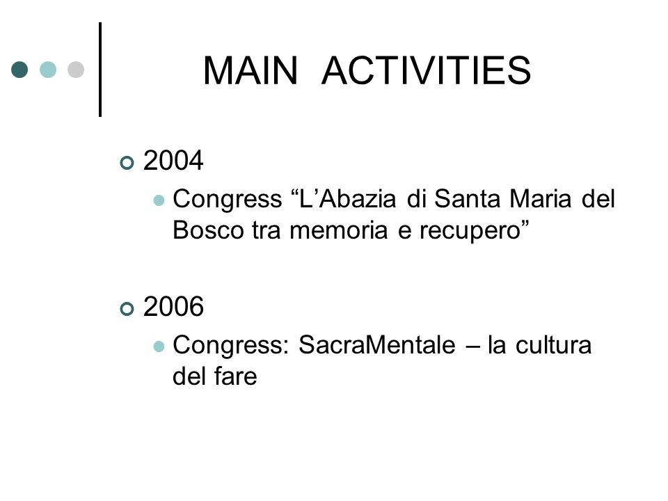 MAIN ACTIVITIES 2004 Congress LAbazia di Santa Maria del Bosco tra memoria e recupero 2006 Congress: SacraMentale – la cultura del fare