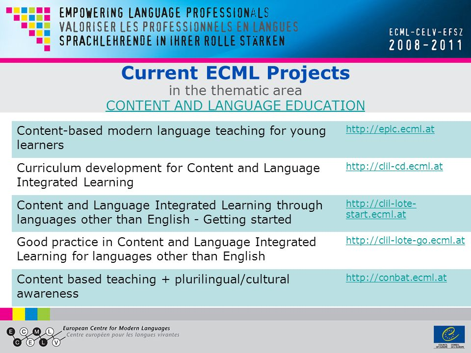 Current ECML Projects in the thematic area CONTENT AND LANGUAGE EDUCATION CONTENT AND LANGUAGE EDUCATION Content-based modern language teaching for young learners http://eplc.ecml.at Curriculum development for Content and Language Integrated Learning http://clil-cd.ecml.at Content and Language Integrated Learning through languages other than English - Getting started http://clil-lote- start.ecml.at Good practice in Content and Language Integrated Learning for languages other than English http://clil-lote-go.ecml.at Content based teaching + plurilingual/cultural awareness http://conbat.ecml.at