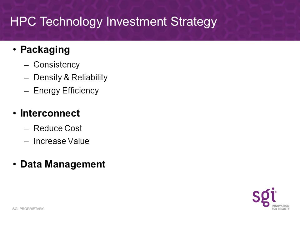 Packaging –Consistency –Density & Reliability –Energy Efficiency Interconnect –Reduce Cost –Increase Value Data Management HPC Technology Investment Strategy