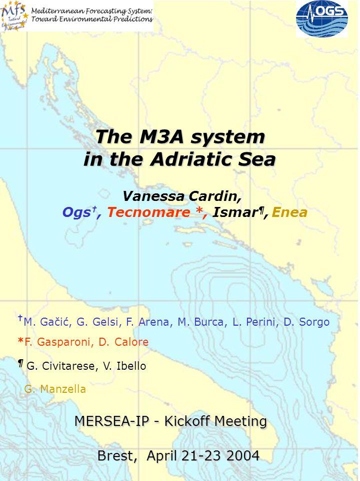 MERSEA-IP - Kickoff Meeting Brest, April 21-23 2004 Vanessa Cardin, Ogs, Tecnomare *, Ismar ¶, Enea The M3A system in the Adriatic Sea M. Gačić, G. Ge