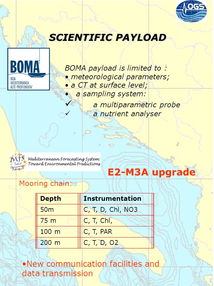 SCIENTIFIC PAYLOAD BOMA payload is limited to : meteorological parameters; a CT at surface level; a sampling system: a multiparametric probe a nutrien