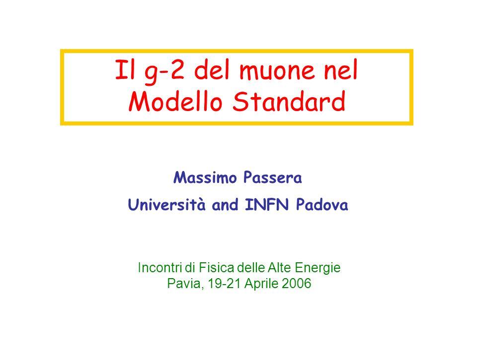 Il g-2 del muone nel Modello Standard Massimo Passera Università and INFN Padova Incontri di Fisica delle Alte Energie Pavia, 19-21 Aprile 2006