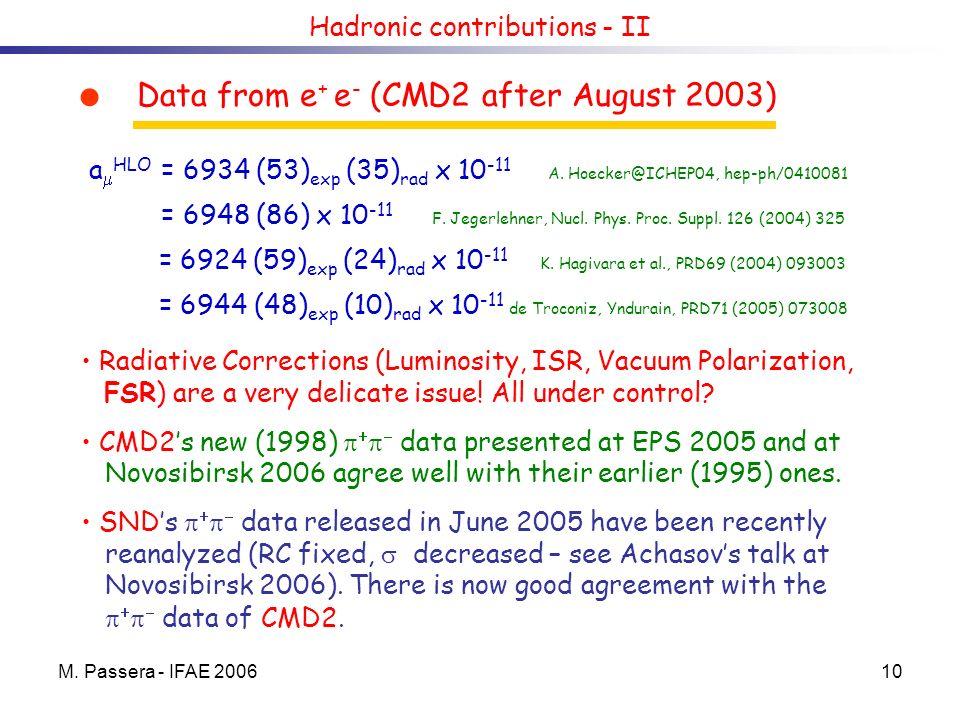 M. Passera - IFAE 200610 Hadronic contributions - II a HLO = 6934 (53) exp (35) rad x 10 -11 A. Hoecker@ICHEP04, hep-ph/0410081 = 6948 (86) x 10 -11 F