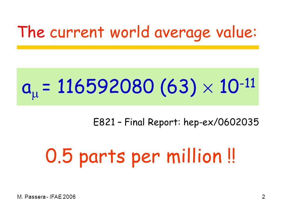 M. Passera - IFAE 20062 0.5 parts per million !! a = 116592080 (63) £ 10 -11 E821 – Final Report: hep-ex/0602035 The current world average value:
