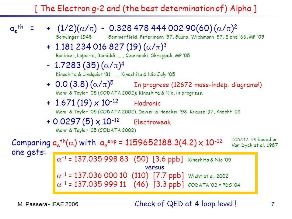 M. Passera - IFAE 20067 a e th = + (1/2)( / ) - 0.328 478 444 002 90(60) ( / ) 2 Schwinger 1948 Sommerfield, Petermann 57, Suura, Wichmann 57, Elend 6