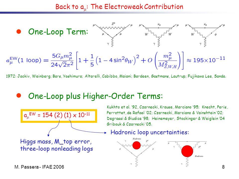 M. Passera - IFAE 20068 Back to a : The Electroweak Contribution One-Loop Term: 1972: Jackiv, Weinberg; Bars, Yoshimura; Altarelli, Cabibbo, Maiani; B