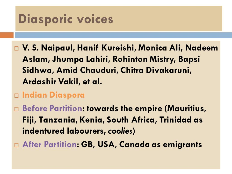 Diasporic voices V. S. Naipaul, Hanif Kureishi, Monica Ali, Nadeem Aslam, Jhumpa Lahiri, Rohinton Mistry, Bapsi Sidhwa, Amid Chauduri, Chitra Divakaru