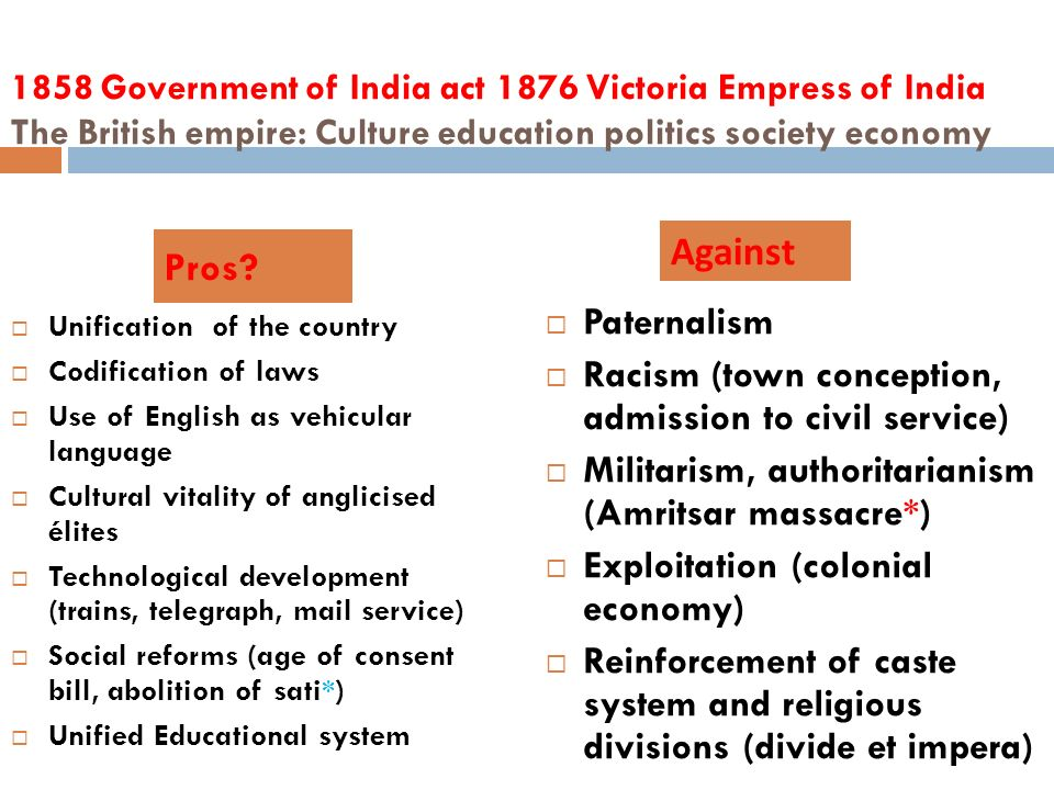 1858 Government of India act 1876 Victoria Empress of India The British empire: Culture education politics society economy Unification of the country