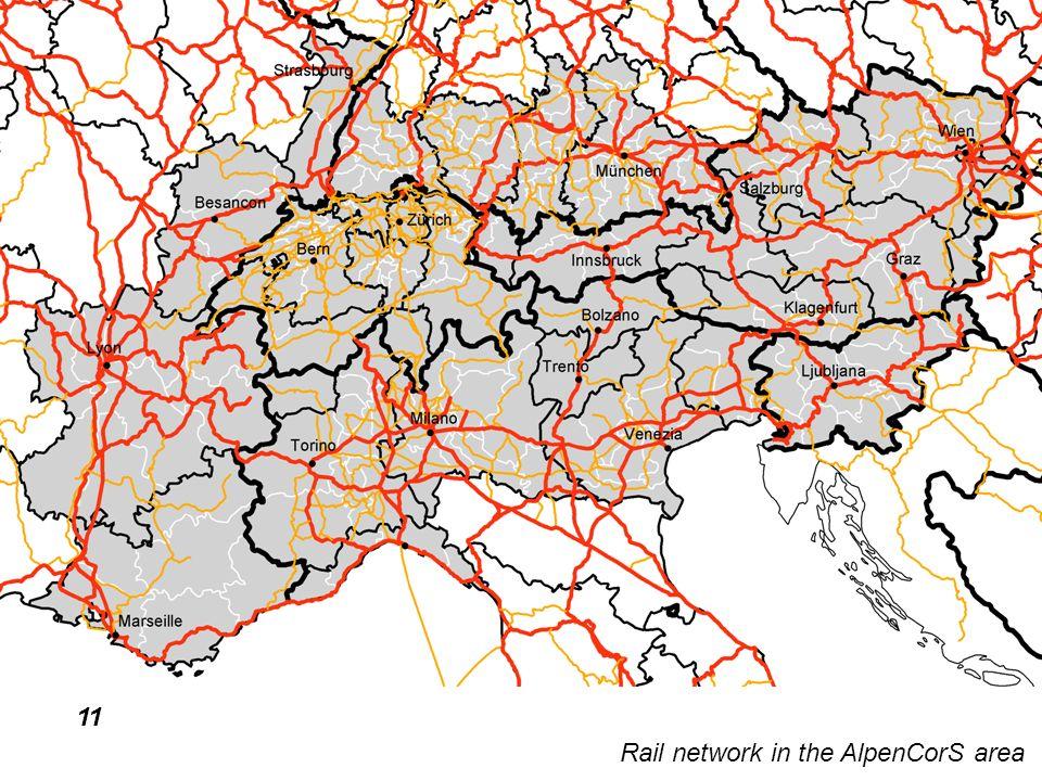 11 Rail network in the AlpenCorS area