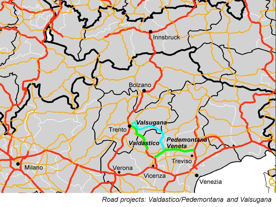 14 Road projects: Valdastico/Pedemontana and Valsugana