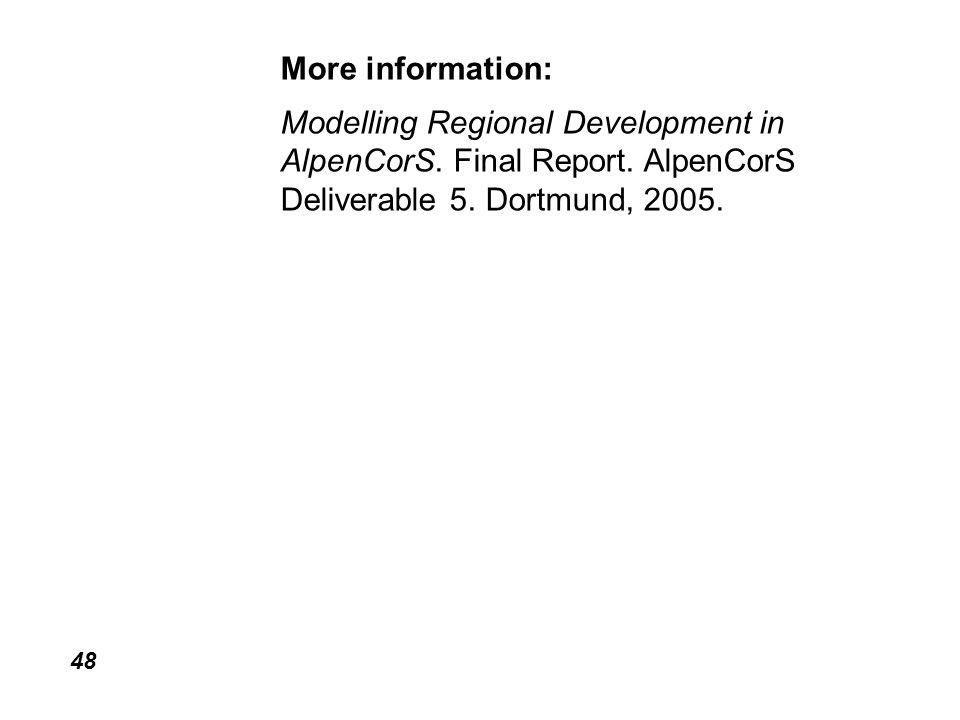 48 More information: Modelling Regional Development in AlpenCorS.