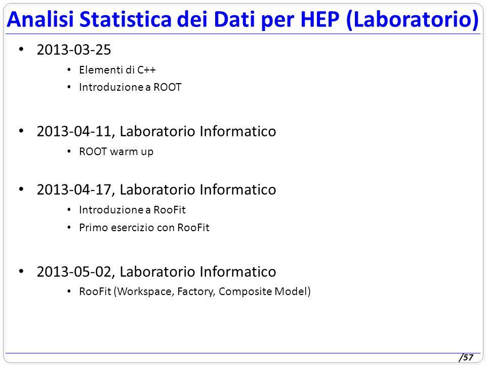 /57 2013-03-25 Elementi di C++ Introduzione a ROOT 2013-04-11, Laboratorio Informatico ROOT warm up 2013-04-17, Laboratorio Informatico Introduzione a RooFit Primo esercizio con RooFit 2013-05-02, Laboratorio Informatico RooFit (Workspace, Factory, Composite Model) Analisi Statistica dei Dati per HEP (Laboratorio)