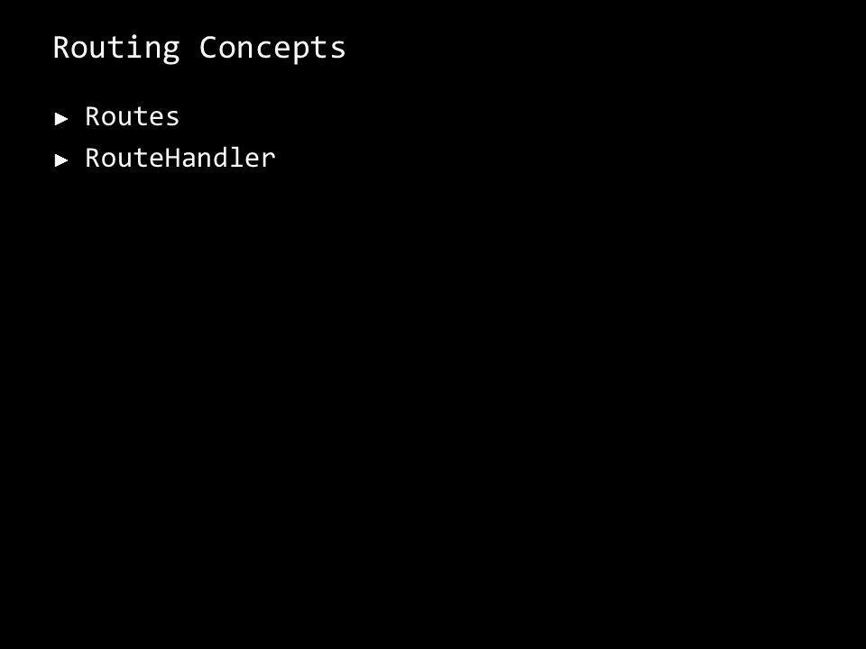 Routing Concepts Routes RouteHandler 11